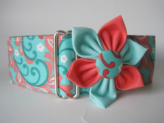 Aqua Martingale Collar and Matching Flower, 2 Inch Martingale Collar, Paisley, Coral Dog Collar, Greyhound Collar, Paisley Dog Collar by HuggableHound