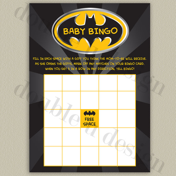 INSTANT DOWNLOAD - Batman Baby Bingo - Baby Shower Game - Printable DIY by doubleudesign