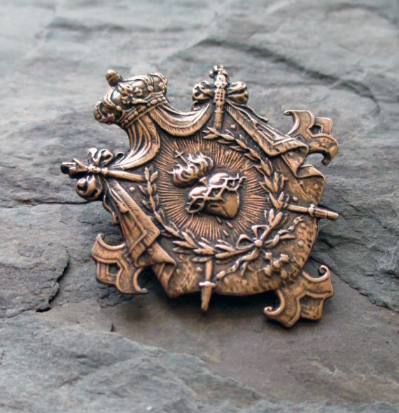bronze shield charm or pendant medal with crown, sacred heart and swords jewelry finding by TheParisCarousel