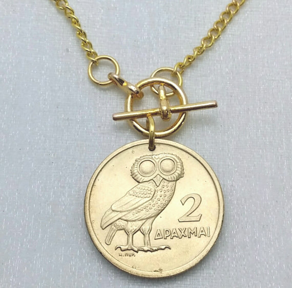 Coin Jewelry - Vintage OWL of Athena COIN NECKLACE - 1973 Greek coin - phoenix rising - bronze coin on goldplated chain by FindsAndFarthings