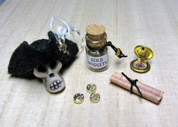 1:12 MINIATURE Dollhouse 1/12 PIRATE Accessories 1 inch scale DIY Diorama Props Scroll Map, Jar Gold Nuggets, Compass, Coins, Hat on Skull by UniqueCreations1111
