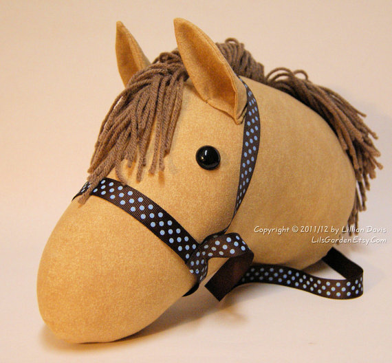 Mocha & Cream Stick Horse, Stick Horse Head, stick pony, Brown Mane, Brown blue dot bridle, MADE to ORDER, With or Without Stick by LilsGarden