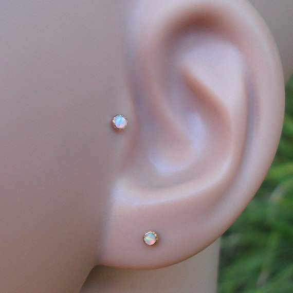 White Opal 2mm Stone Tragus Earring / Cartilage Earring / Nose Ring Rose Gold Filled Handcrafted by Holylandstreasures