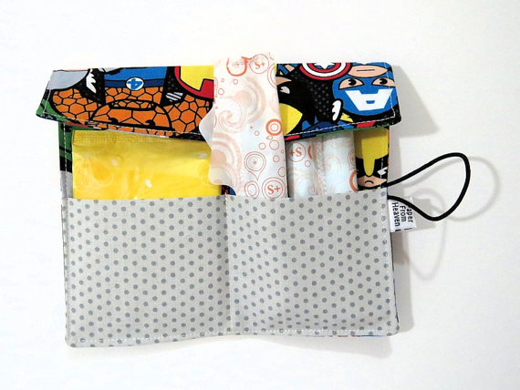 Tampon Holder - Marvel -kawaii pad holder Feminine Product Case superhero Privacy Pouch purse organizer heart and flower by paperfromheaven