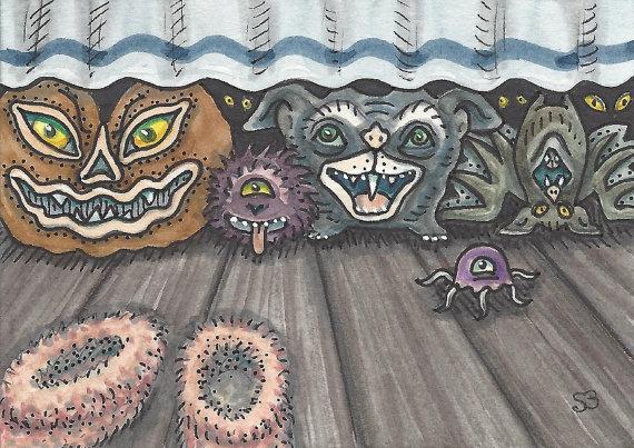 Bedtime MONSTERS Fantasy EHAG Art ACEO Susan Brack Ebsq by susanbrack