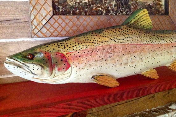 Rainbow Trout 3ft. chainsaw wooden trout carving fish sculpture trophy fly fishing retreat taxidermy lake house decor wall mount art by oceanarts10