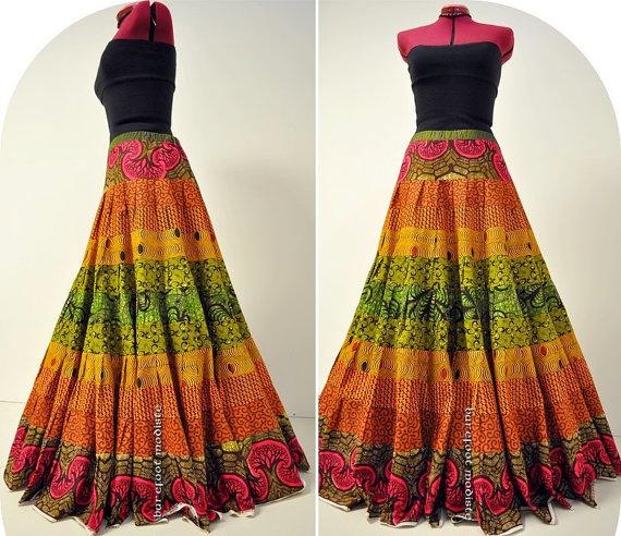 Neema - Long Ankara Maxi skirt, Bold African Patchwork Summer Style, Unique African Wax Hippie Skirt, OOAK Handmade, Ideal for- Medium, TALL by BarefootModiste