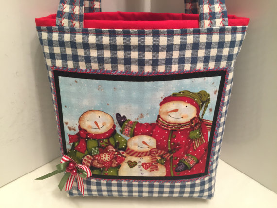 Fabric Gift Tote Bag, Christmas, Gift Wrap, Holiday Birthday, Gift Bag, Snow People, Christmas, Appliqued Tote, Embellished Tote Bag by HugsandHolidays