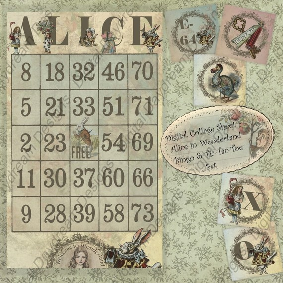 Digital Download Printable Alice In Wonderland Collage Sheet Bingo and Tic-Tac-Toe game set by MyDigitalDaydream