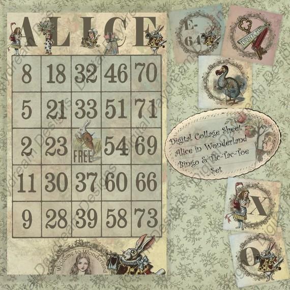 Digital Download Printable Alice In Wonderland Collage Sheet Bingo and Tic-Tac-Toe game set by MyDigitalDaydream