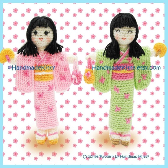 Kimiko and Midori Japanese Dolls Amigurumi PDF Crochet Pattern by HandmadeKitty by handmadekitty