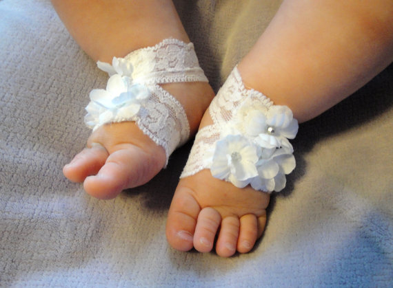 Barefoot Sandal, Baby Barefoot Sandal, Baby Sandals, Baby Shoes, Barefoot Blossom (TM), White Lace by PetalnPearlBoutique