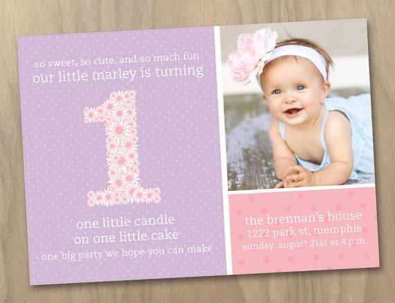 Baby Girl First 1st Birthday Photo Invitation Pink And Purple Polka Dots Flowers Custom Printable Digital File By DesignAndLife
