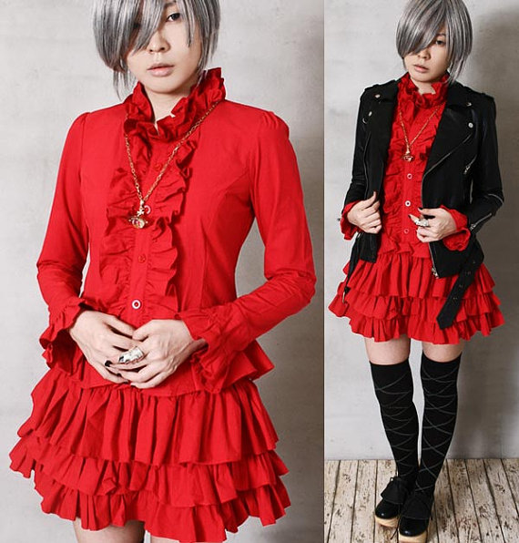 Aristocrat Gothic Dolly Lolita Punk EGL Cosplay Nana Tux Ruffle Shirt Dress Red by runnickyrun