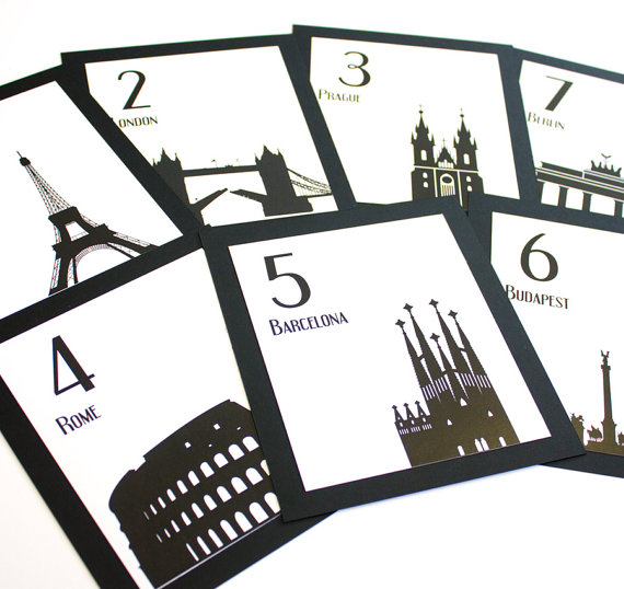Travel Table Number Wedding Decor International World Globetrotter Cities Landmarks Bar Mitzvah Special Event by ShannaMicheleDesigns