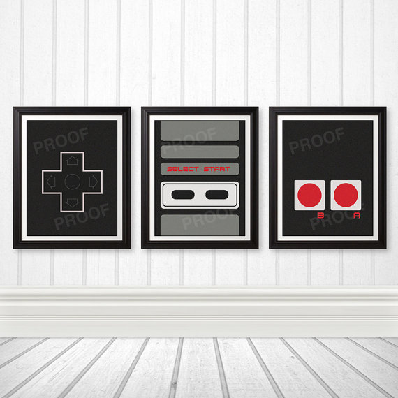 NES Controller Print Set, NES Art, Nerd Art, Geek Gift, Gamer Print - 11x14 Prints by BentonParkPrints