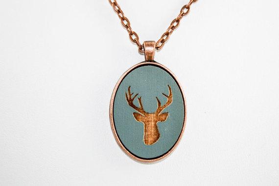Mounted Deer Head Pendant - Laser Engraved Wood (slate blue) by OnceAgainSam