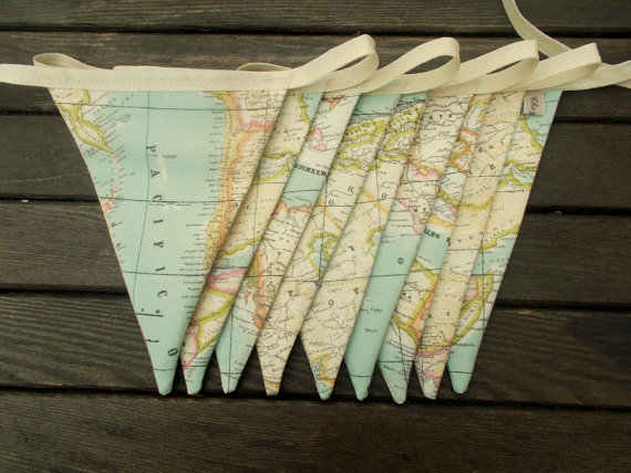 map fabric bunting - map decor - world map decor - world map bunting - map bunting - travel bunting - globe bunting - atlas bunting by chezlele