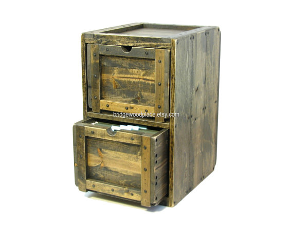 File Cabinet, Rustic Solid Wood Office Filing Cabinet, File Storage & Organization, Home Office Decorative File Cabinet, Printer Cabinet by BridgewoodPlace