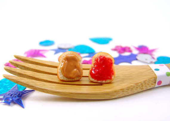 Sandwich Earrings Food Jewelry MADE to ORDER- PB and J Earrings – Food Earrings Post Earrings by mousemarket