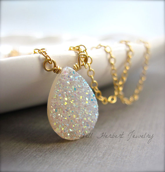 Druzy Pendant Necklace, Sparkly White Rainbow Druzy Necklace in Gold Fill, Vanilla Druzy Quartz Jewelry by NellBelleDesigns