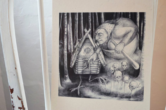Baba Yaga – A4 print on cream card by thehermitage