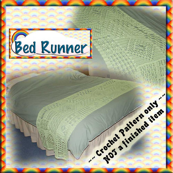 PDF Crochet Pattern Bed Runner / Scarf by RainbowValleyCrochet