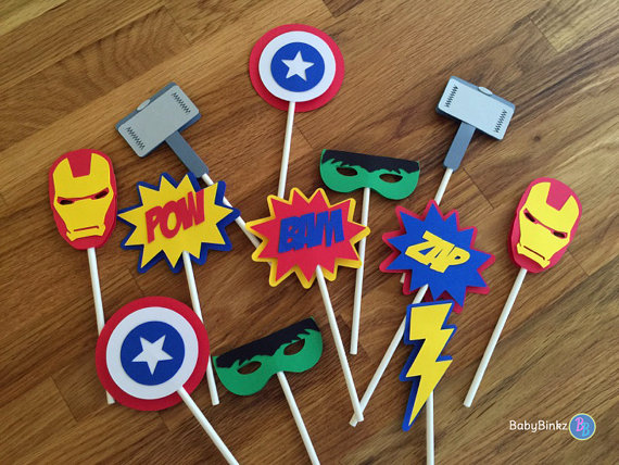 Die Cut Avengers Super Hero Cupcake Toppers - marvel inspired captain america the hulk thor ironman birthday party decorations wedding by BabyBinkz