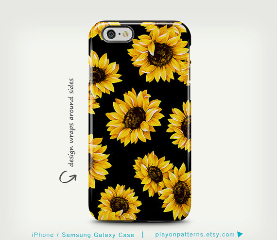 Sunflower iPhone Case Floral iPhone 6 6 Plus Case Cute Case Unique Gift iPhone 5 Case Sunflower Art Pattern iPhone 5c Case Black Yellow Case by playonpatterns