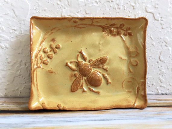 Ceramic Honey Bee Soap Dish or Trinket Dish with Garden Flowers Handmade Pottery by MyMothersGarden