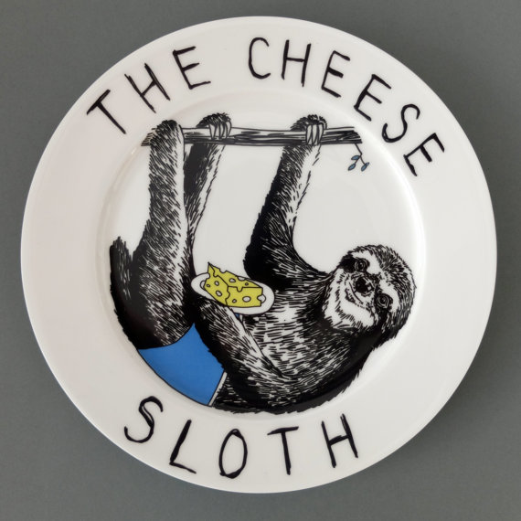 Cheese Sloth side plate by jimbobart