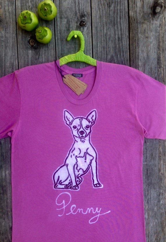 e8d36f5e9220d Chihuahua dog women t shirt hand drawn hand painted hand dyed eco ...