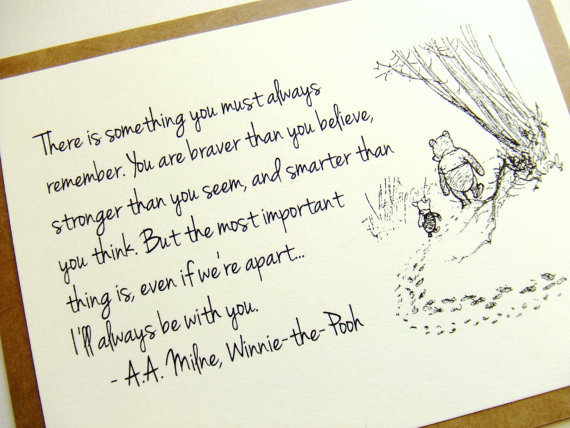Always Remember - Winnie the Pooh Quote - Classic Piglet and Pooh Note Card Cream On Kraft Brown by prettypetalspaper