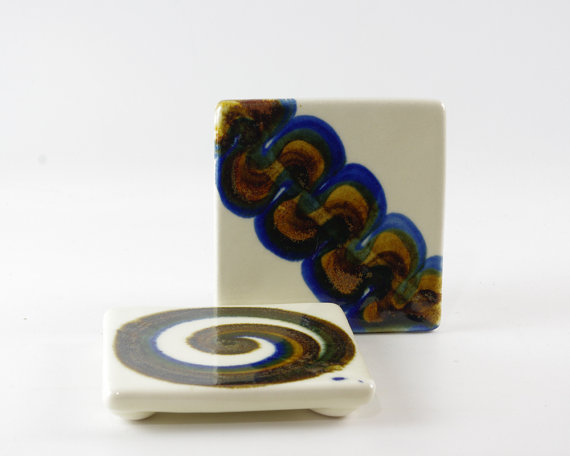 Fred Evangel Tile, Mid Century Modern, Ceramic Trivet, Pottery Coaster, Set of Two by GizmoandHooHa