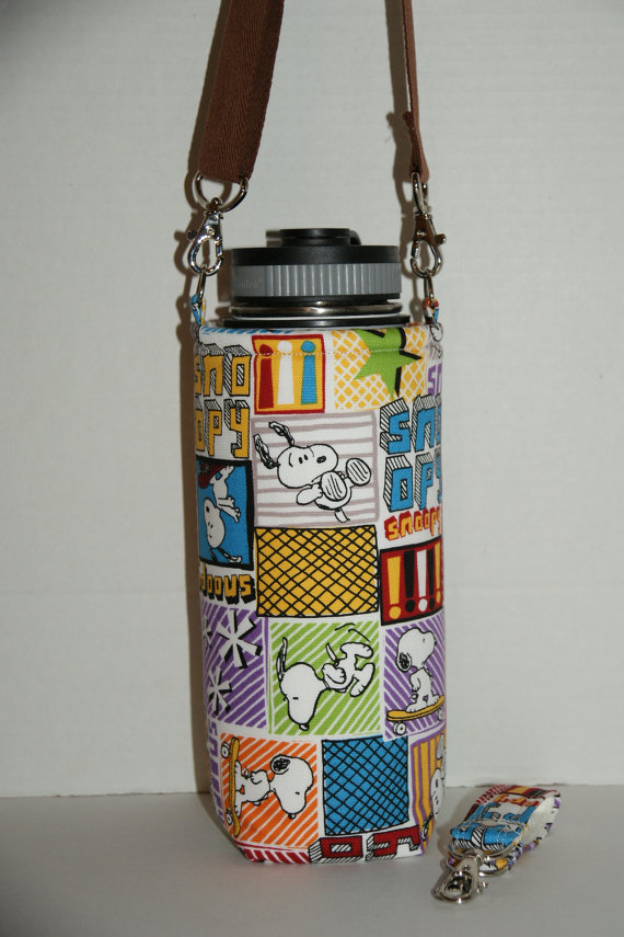 Insulated Water Bottle Holder for 32oz Hydro Flask with Interchangeble Handle and Strap Made with Japanese Fabric & quot; Snoopy - Skateboard & quot; by janshop12
