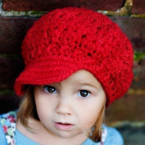 Children's Newsgirl Beanie – cherry red by PdxBeanies