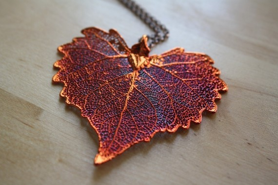 Copper Cottonwood Large Leaf Pendant Necklace, Red Heart Leaf Jewelry, Nature Jewelry, Extra Long Necklace Chain, Leaf Necklace by FreshyFig