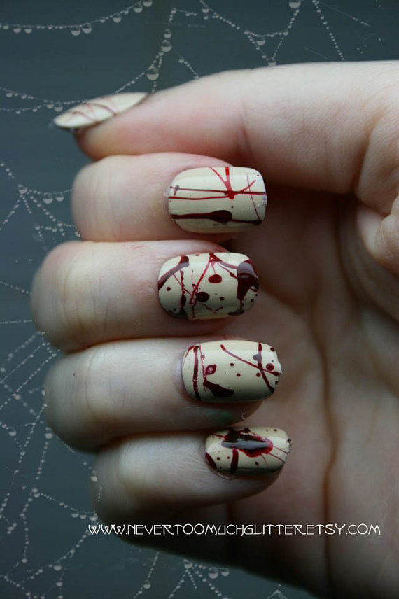 Splatter. Gothic Fake Nails, Horror, Goth, Creepy, Blood, Halloween, Short Fake Nails, False Nails Set, Press On Nails, Cosplay, Zombie by NeverTooMuchGlitter