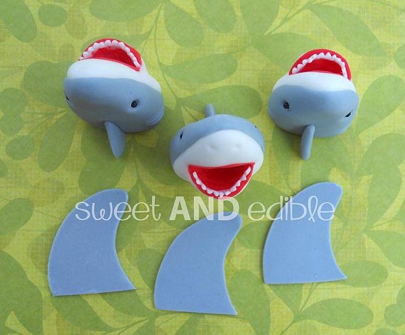 SHARKS and FINS. 12 Fondant Cupcake Toppers. by SWEETandEDIBLE