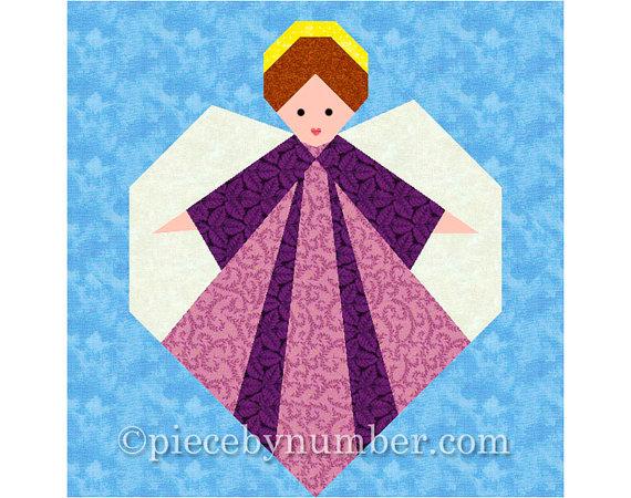 Guardian Angel quilt block, paper pieced quilt patterns, PDF instant download, angel patterns, angel quilt pattern, christmas patterns by PieceByNumberQuilts