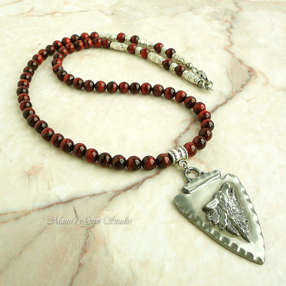 Red Tiger Eye Necklace for Men, Wolf, Tribal, Native American - Handmade Men's Beaded Jewelry, for Guys, Him by mamisgemstudio
