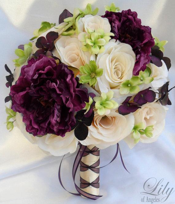 Silk Flower Wedding Bouquet Silk Wedding Arrangements Artificial Bridal Bouquets Silk Bridal Bouquet Silk Flowers & quot; Lily Of Angeles & quot; IVPU02 by LilyOfAngeles