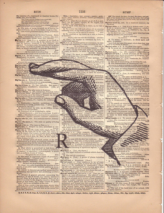 Letter R Typography Print, Wall Art, Antique 1888 Dictionary Page, Rustic Vintage Home Decor, ASL, 8 1/2 x 11 & quot; by AgedPage
