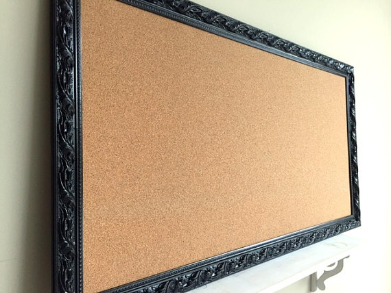 Large CORK BOARD Corkboard Bulletin Board Pinboard Narrow Kitchen Organizer Artwork School Organizer Jewely Organizer Office Craft Room by ShugabeeLane
