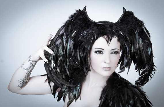 Fallen angel feather headpiece Black halloween headdress Dark fashion goth headpiece Demon wings costume Maleficent wings Cosplay by MetamorphDK