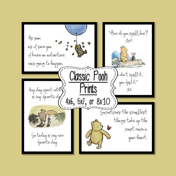 Set of 4 Classic Winnie the Pooh Quotes - 4x6, 5x7, or 8x10 prints by SaturdayDesigns