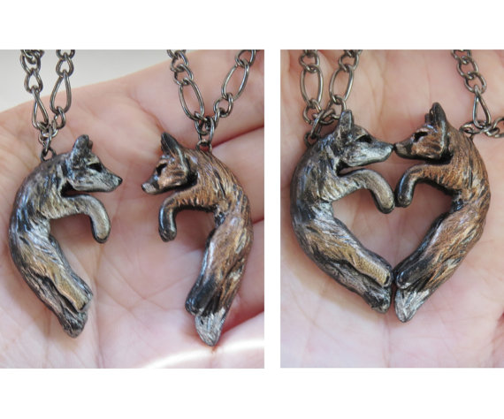 Wolf and Fox Love Necklace His and Hers Heart Kissing Couple by wcgoods