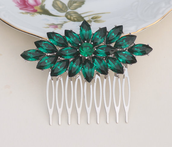 Art Deco Emerald Green Rhinestone Hair Comb,Silver Large Brooch Hair Comb,Emerald Green Crystal Pave Bridal Comb,Bridal Headpiece,Weddings by hangingbyathread1