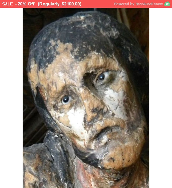 Autumn SALE - AMAZING Antique Santos Wood Polychrome Jesus 18thc by RuinsCa
