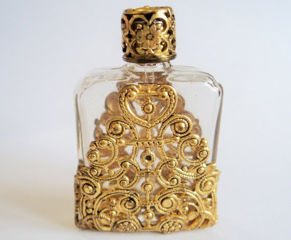 Czech Filigree Perfume Bottle Vintage Goldtone Metal By